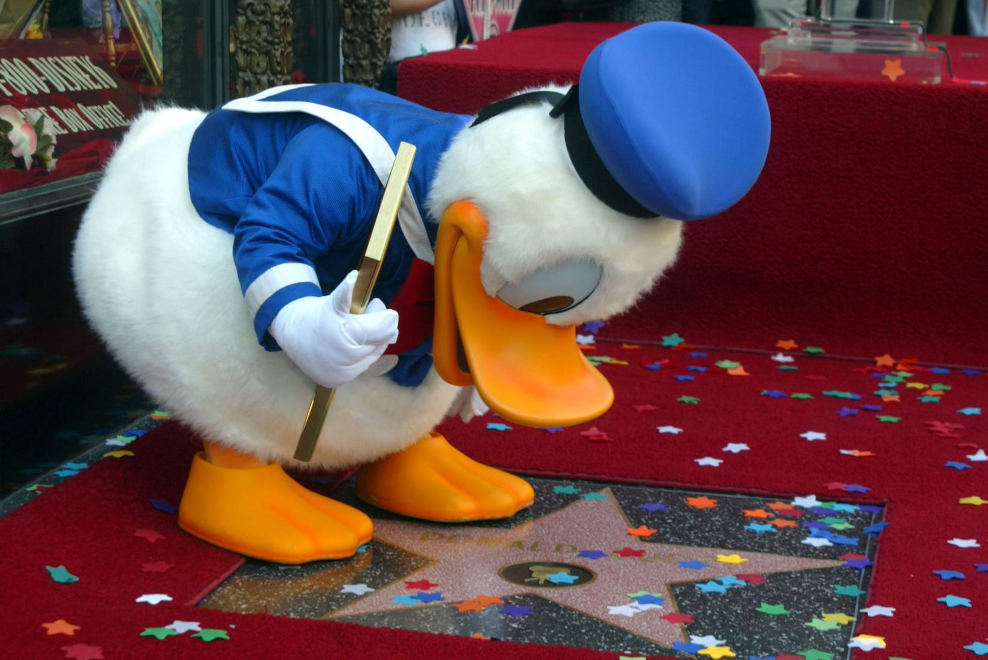 Donald Duck Honored with a Star on the Hollywood Walk of Fame for His Achievements in Film