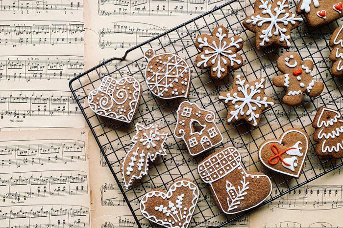 High Angle View Of Christmas Cookies On Cooling Rack