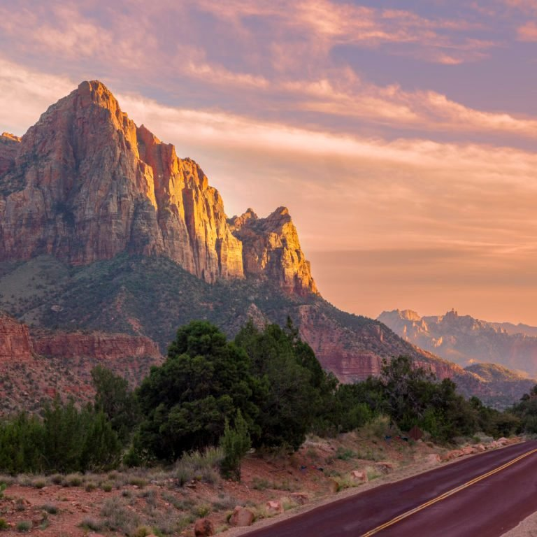 Gorgeous Sunset over Watchman mountain in Zion National Park, Utah, USA