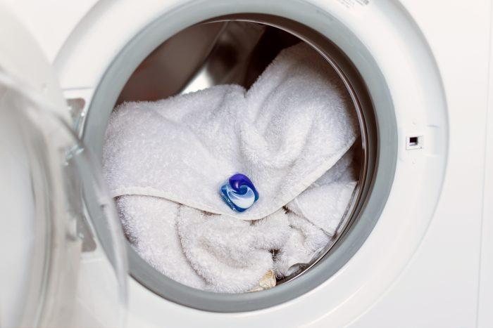 laundry detergent pod in washing machine