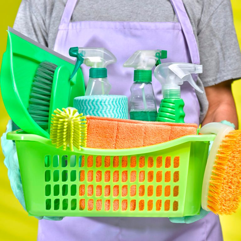 Man spring cleaning