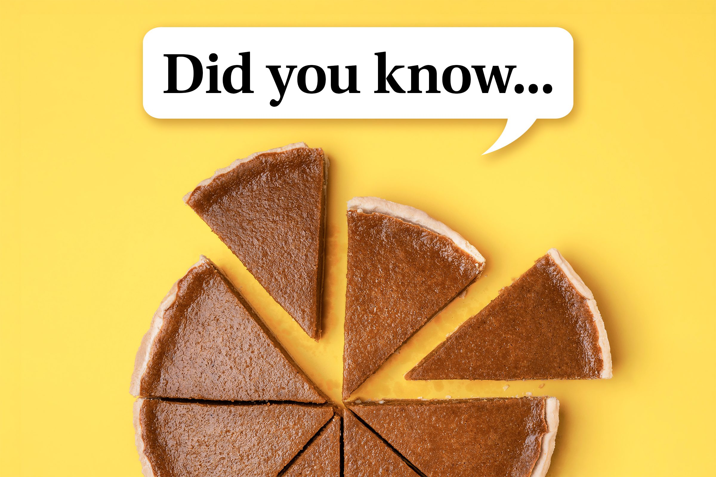 """pumpkin pie cut into slices on yellow background. speech bubble reads, """"Did you know..."""""""