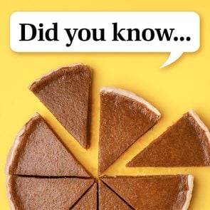 pumpkin pie cut into slices on yellow background. speech bubble reads,