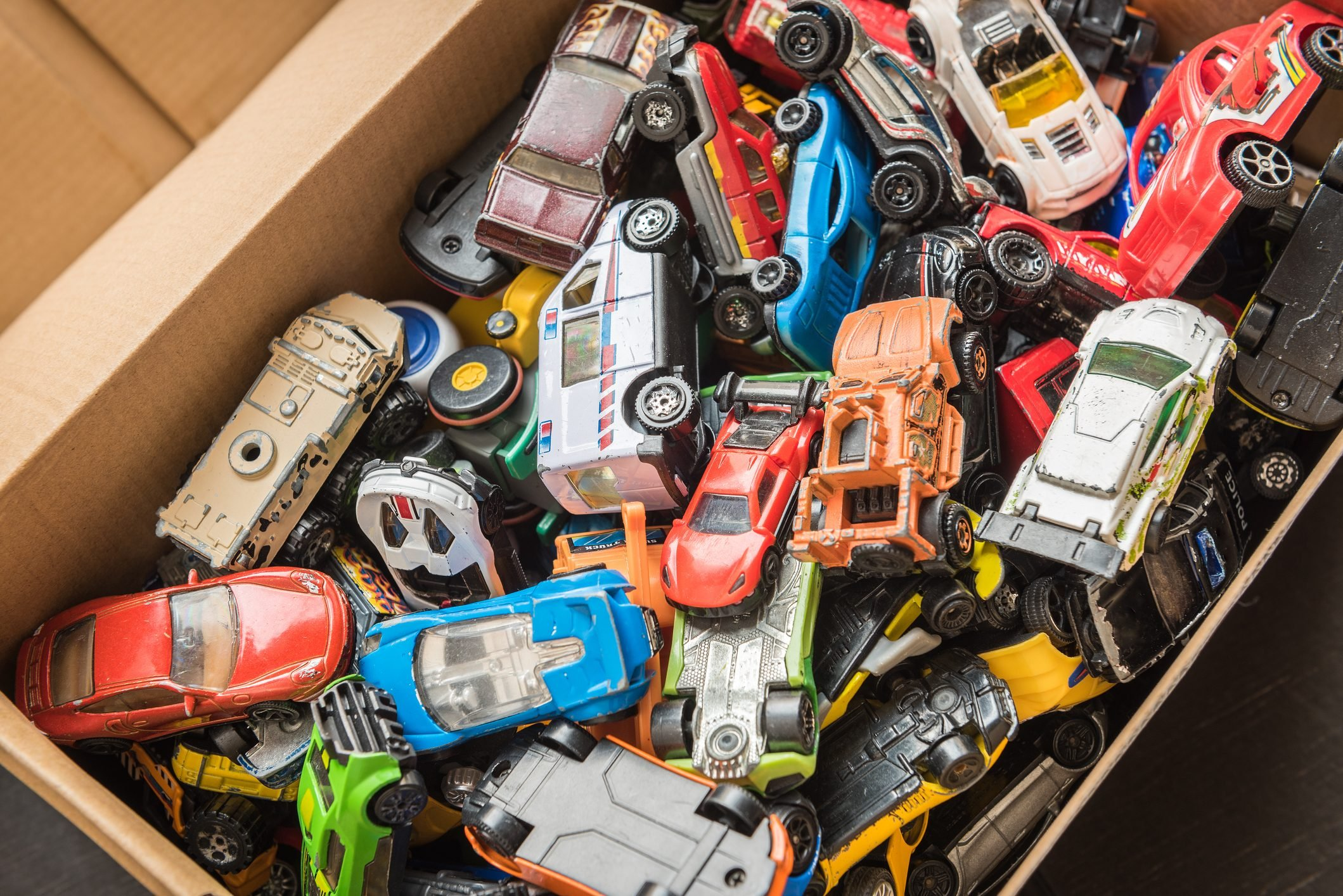 High Angle View Of Toys In Box