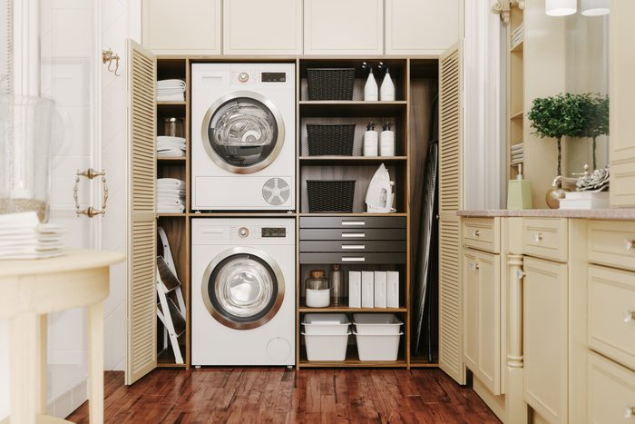 washer and dryer in the Interior Of A Modern Laundry Room