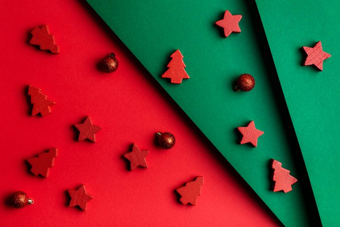 Christmas and Happy New Year holidays colorful background, flat lay