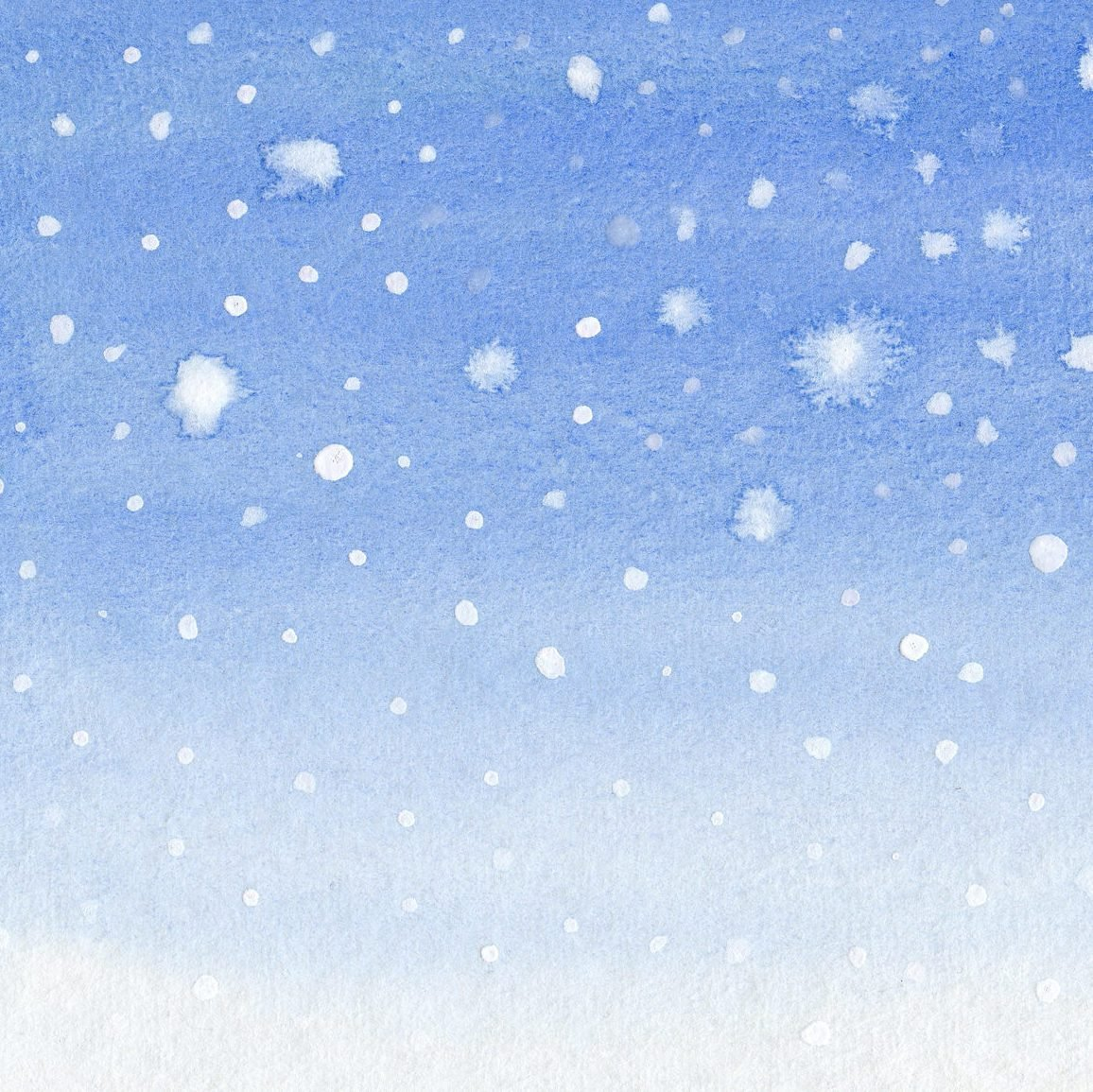 snow watercolor background with copy-space