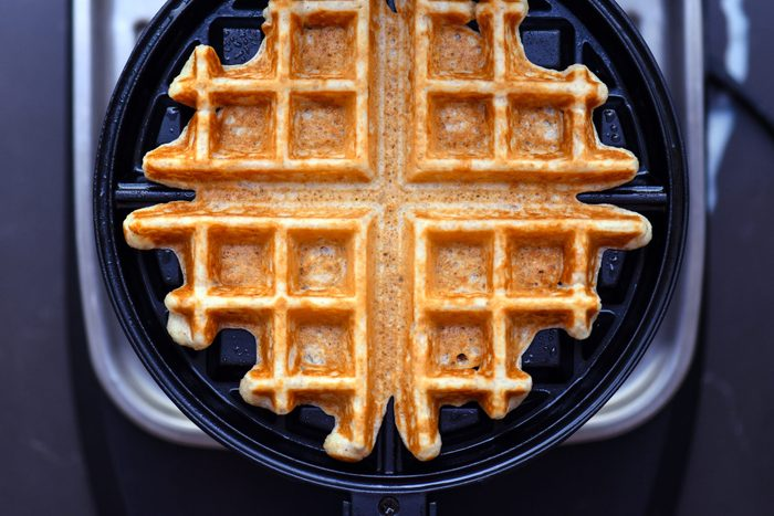 Waffle in waffle maker from above