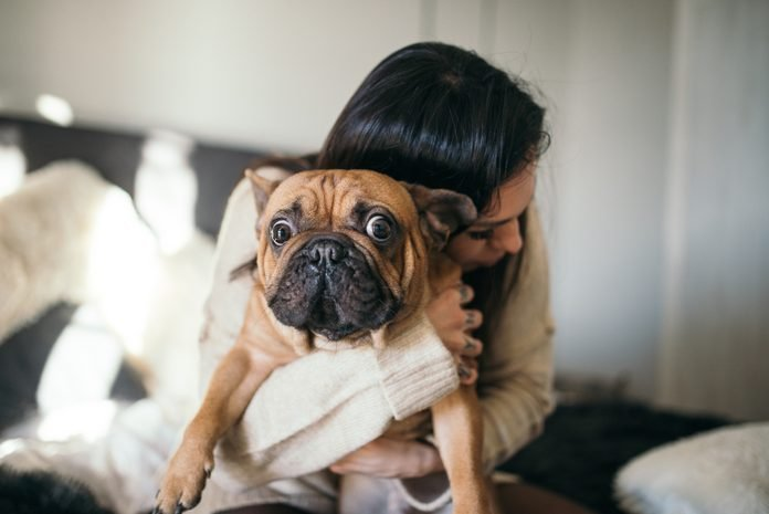 A tattooed woman hugging her cute puppy. Happy moment between pe