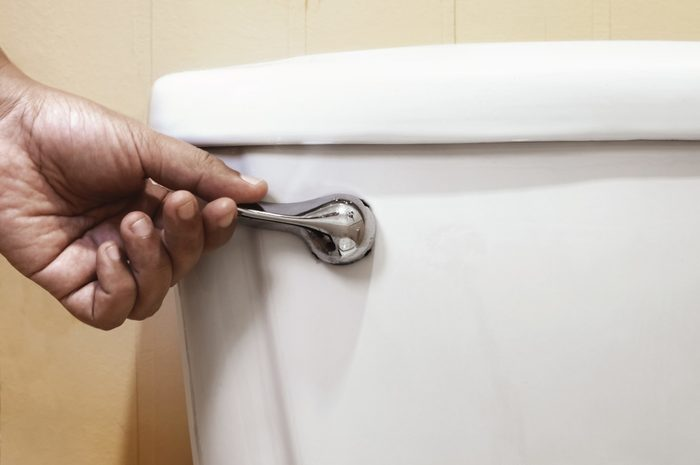 Close-Up Of Hand Holding Flush In Toilet
