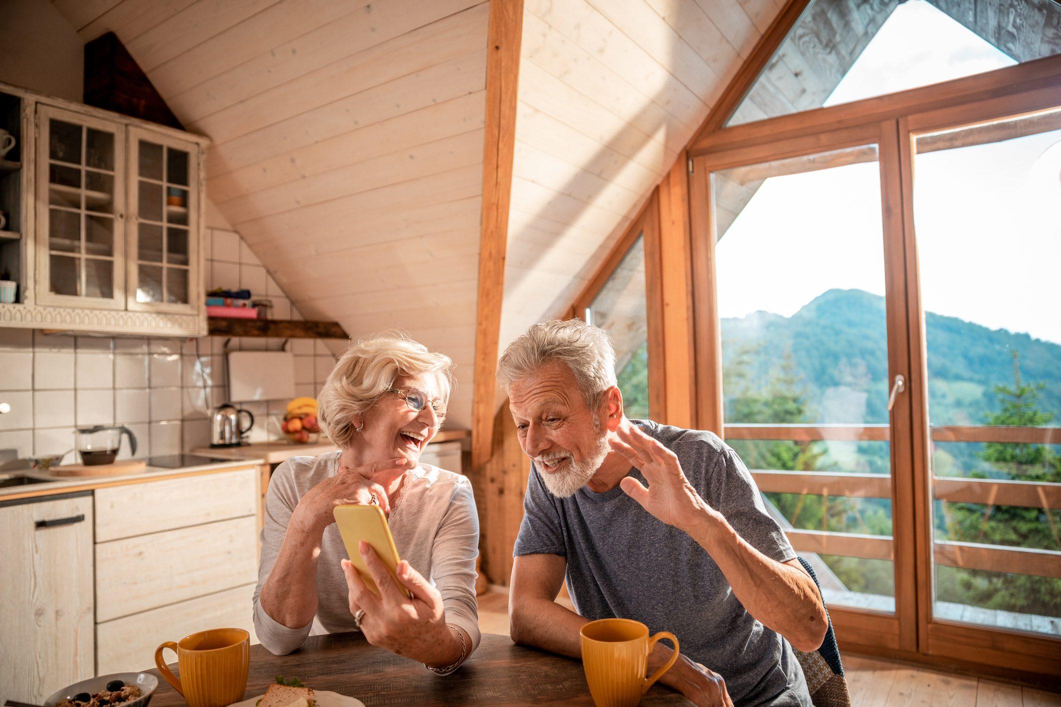 Senior couple having a video call on their phone