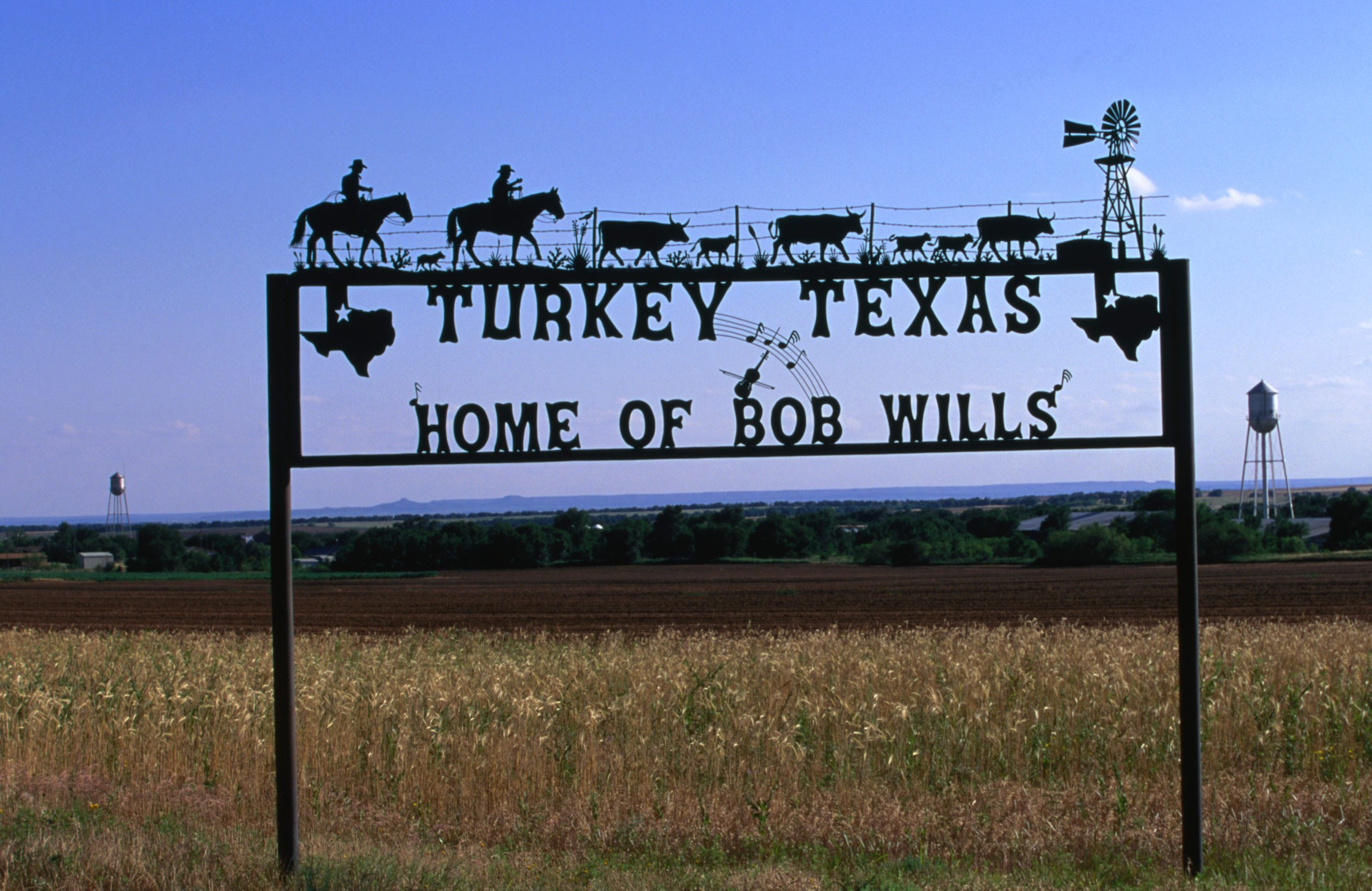 A sign for Turkey Texas, capital of Western Swing music and home of the country musician Bob Wills and his Texas Playboys.