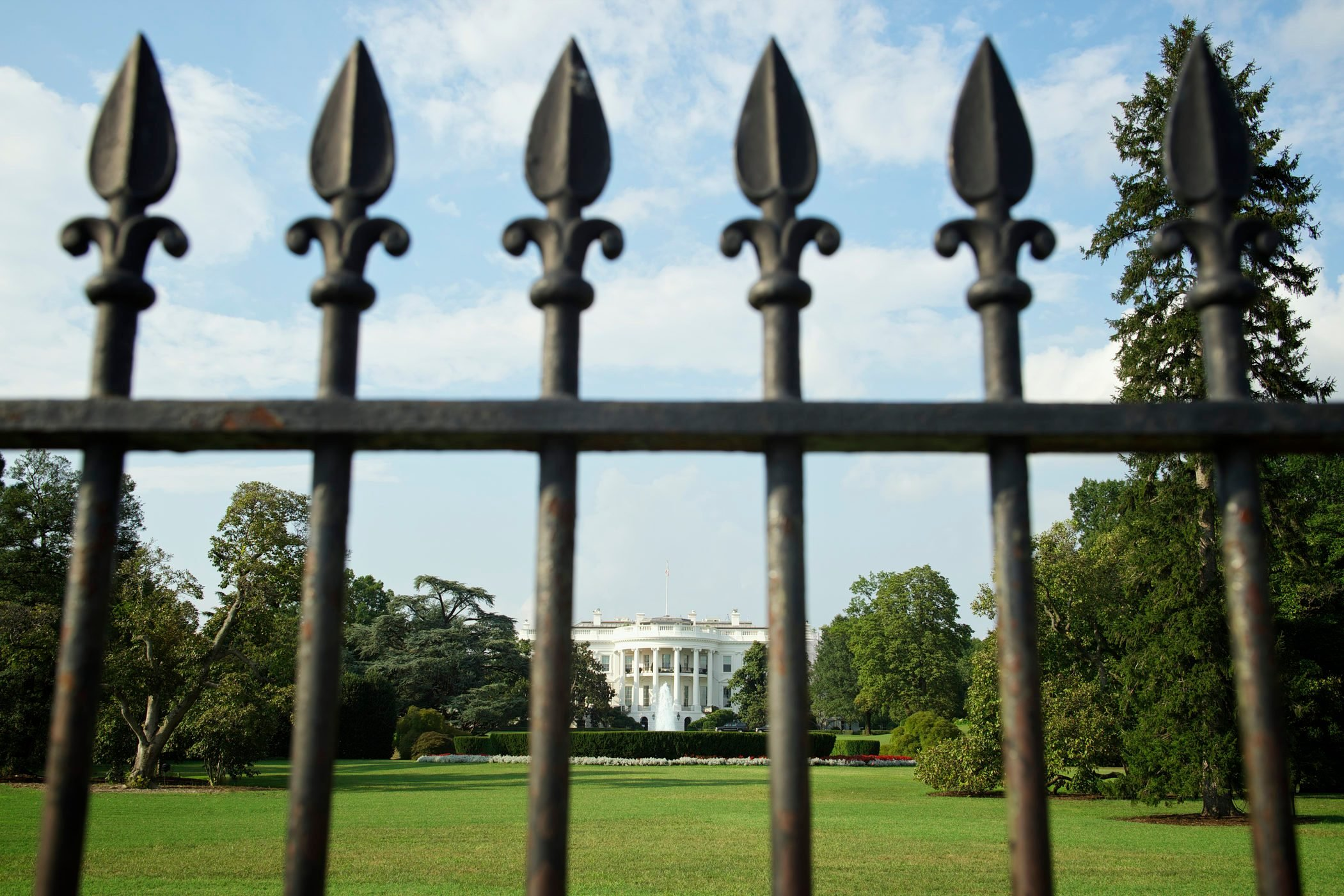 White House Washington DC Lawn Behind Iron Gate