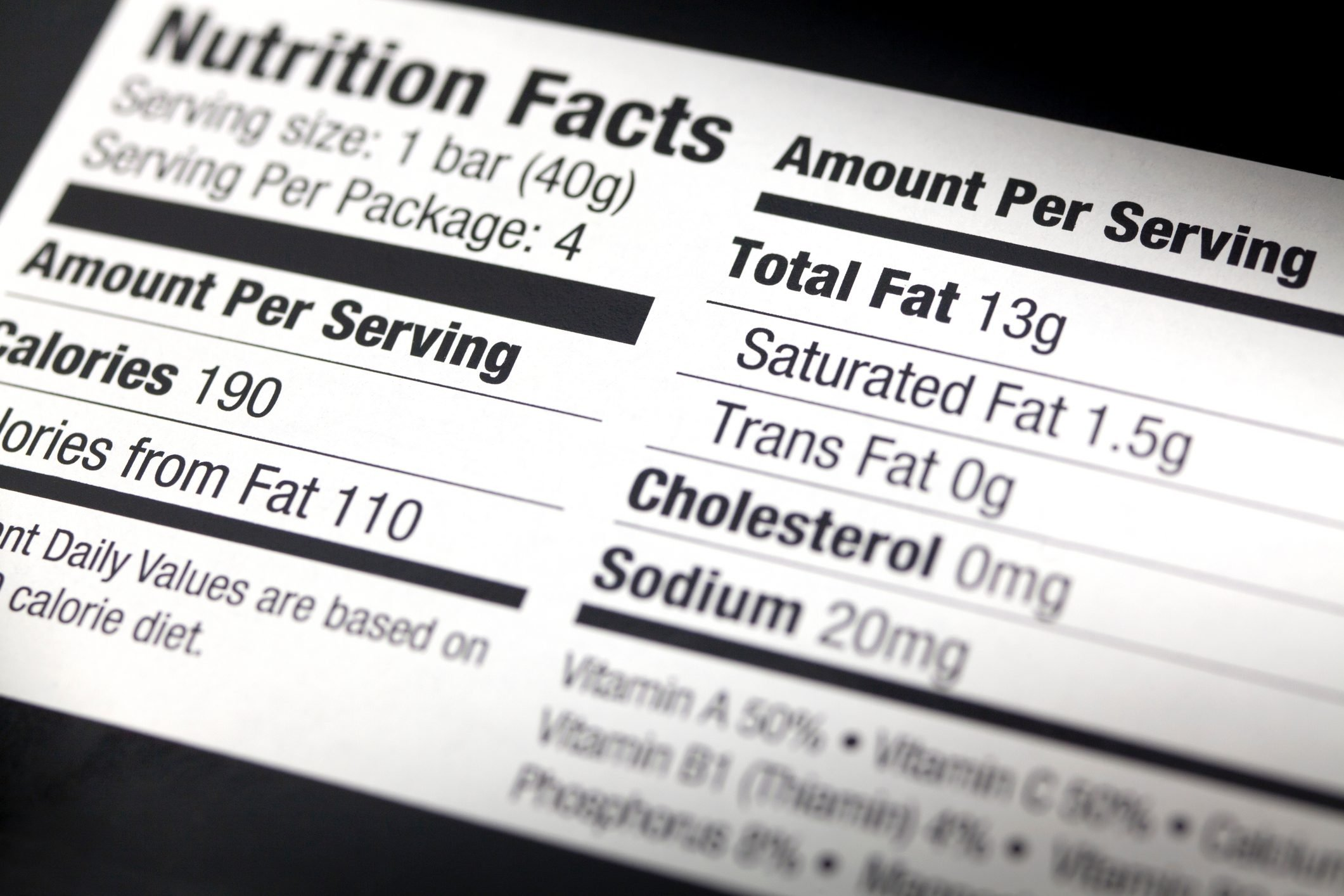 A nutritional label, close-up