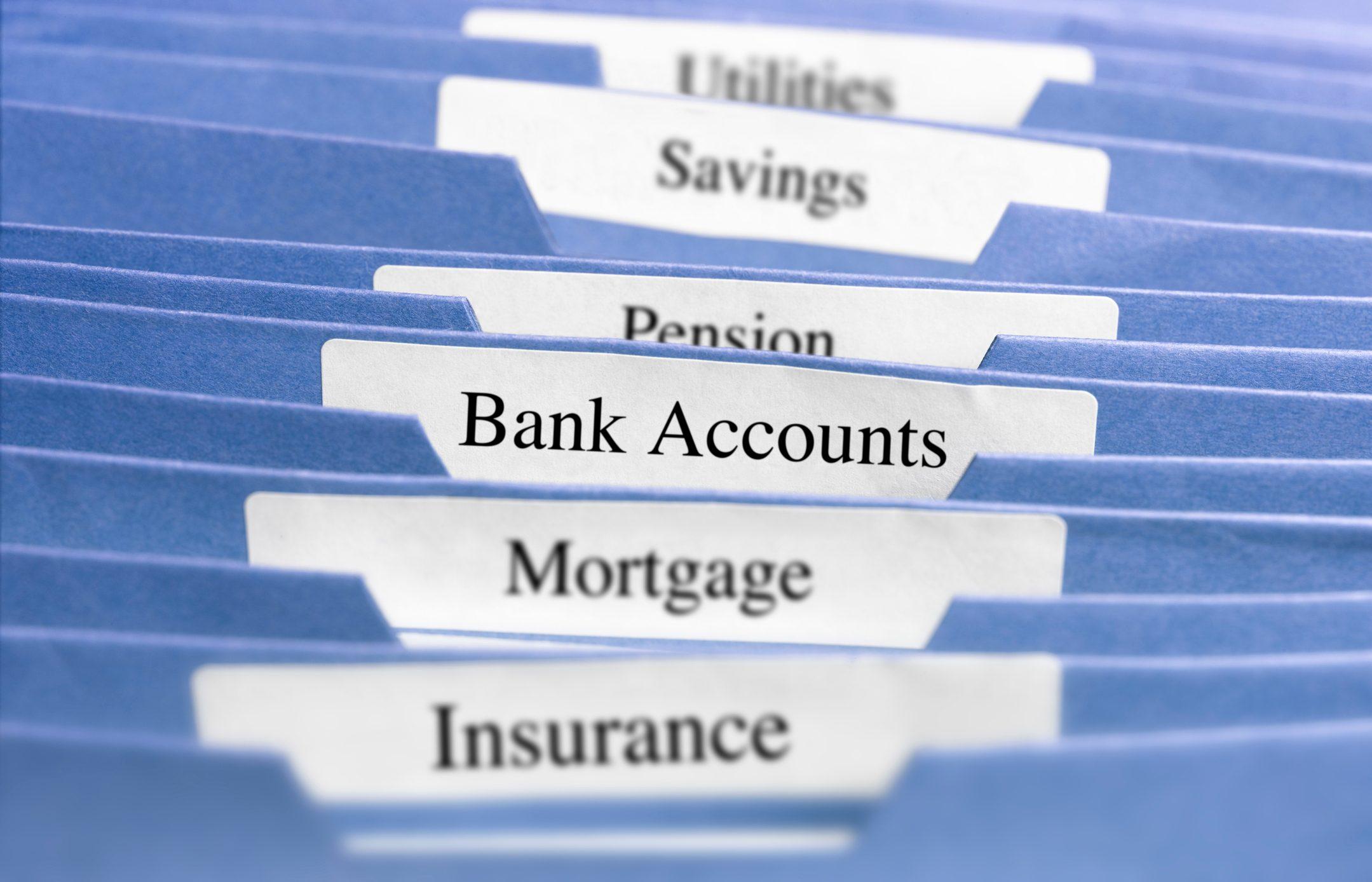 Hanging files/bank accounts