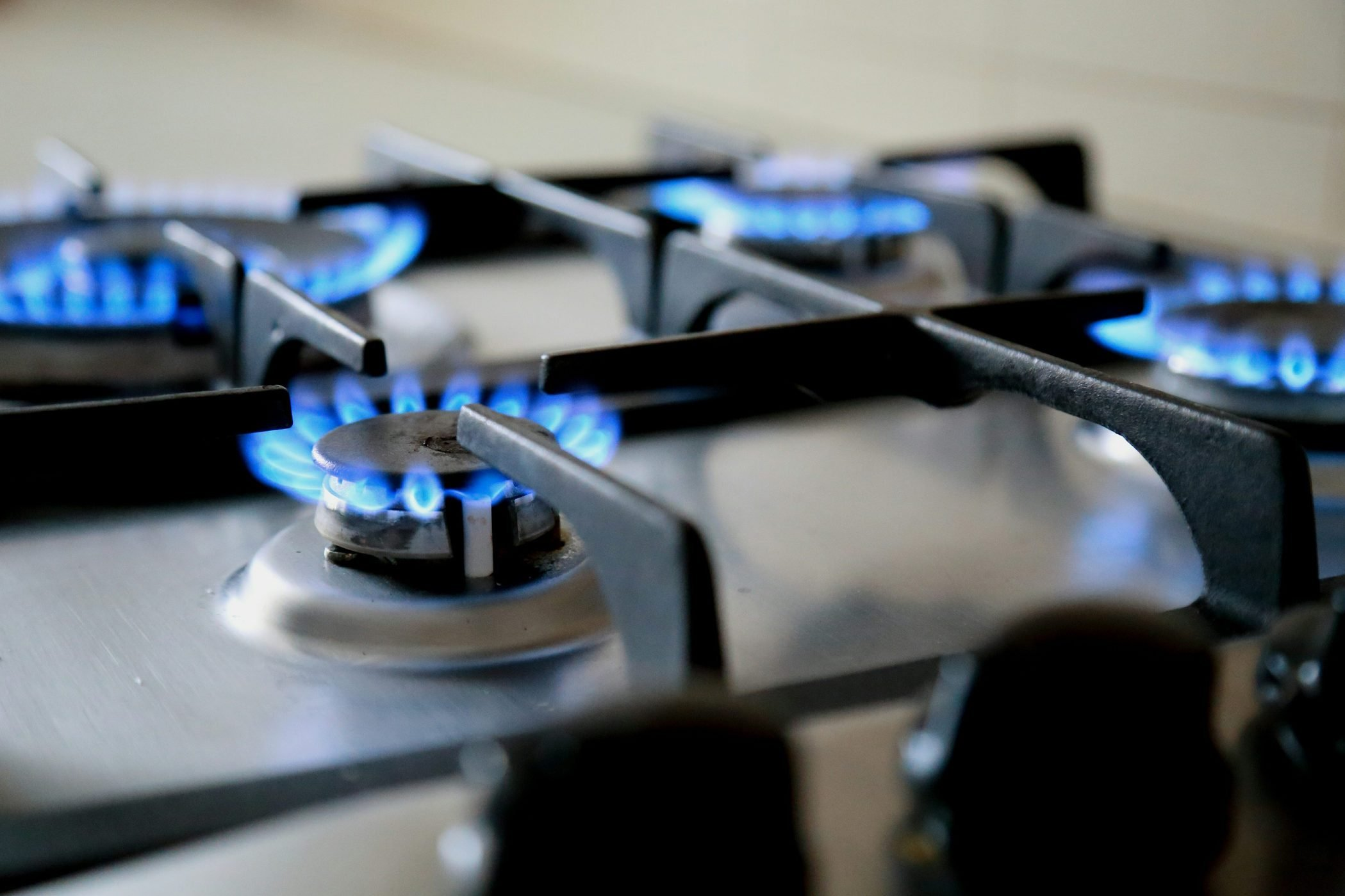 Close-Up Of Gas Stove Burners