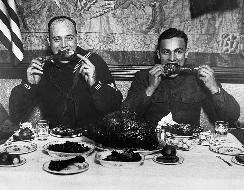 Soldier and Sailor Celebrate Thanksgiving