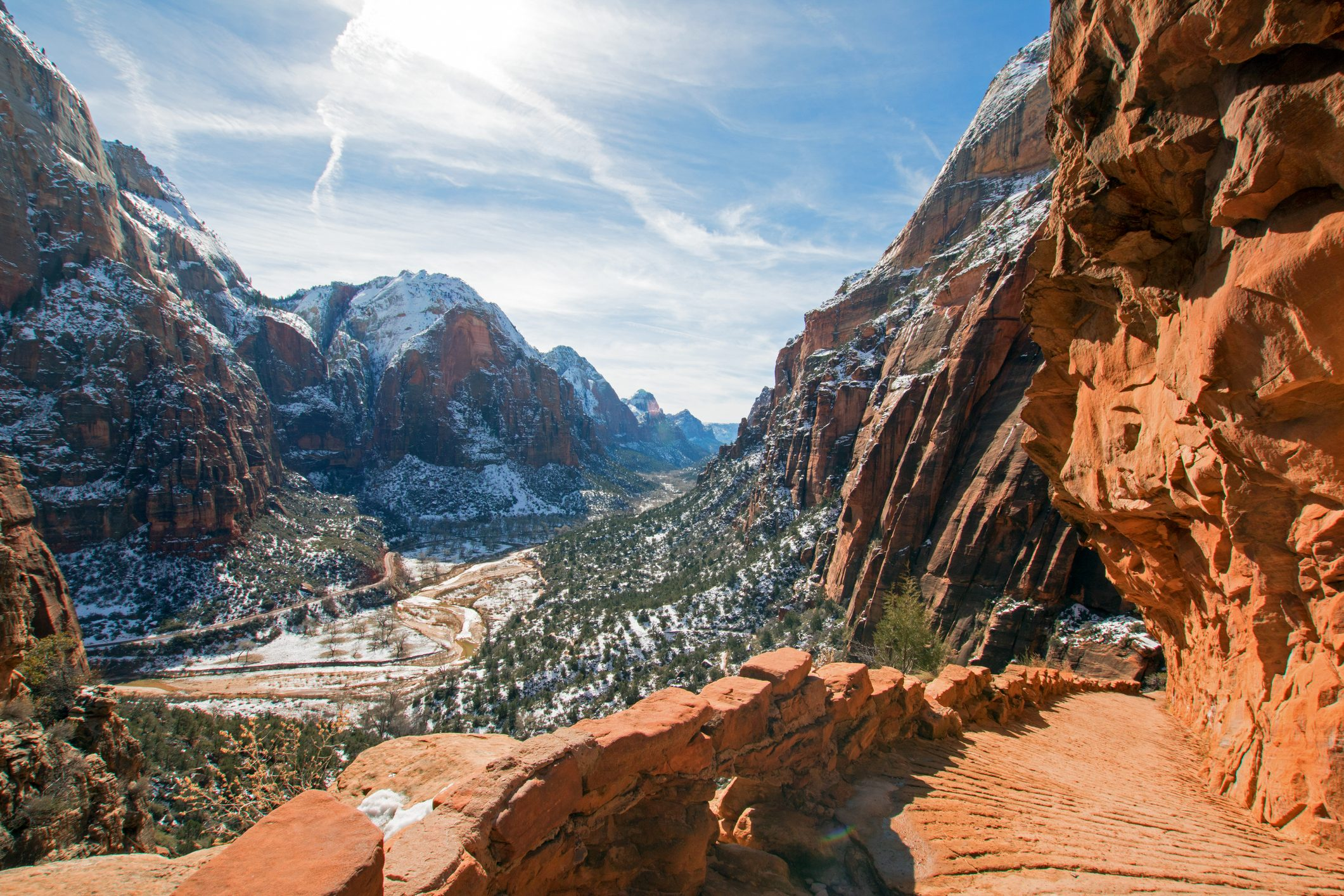 Angels Landing Hiking Trail in the winter high above the Virgin River in Zion National Park in Utah USA