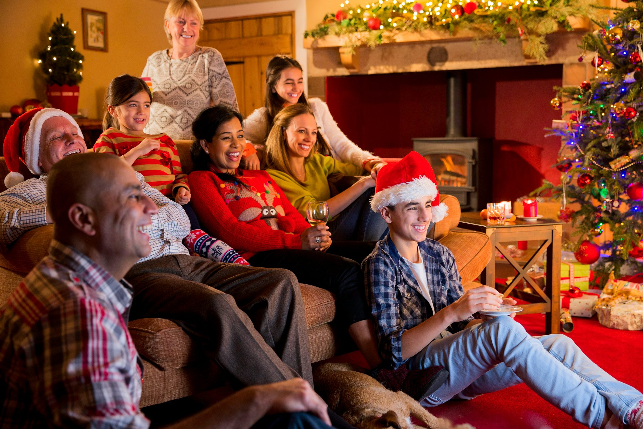 Family Watching Christmas Television