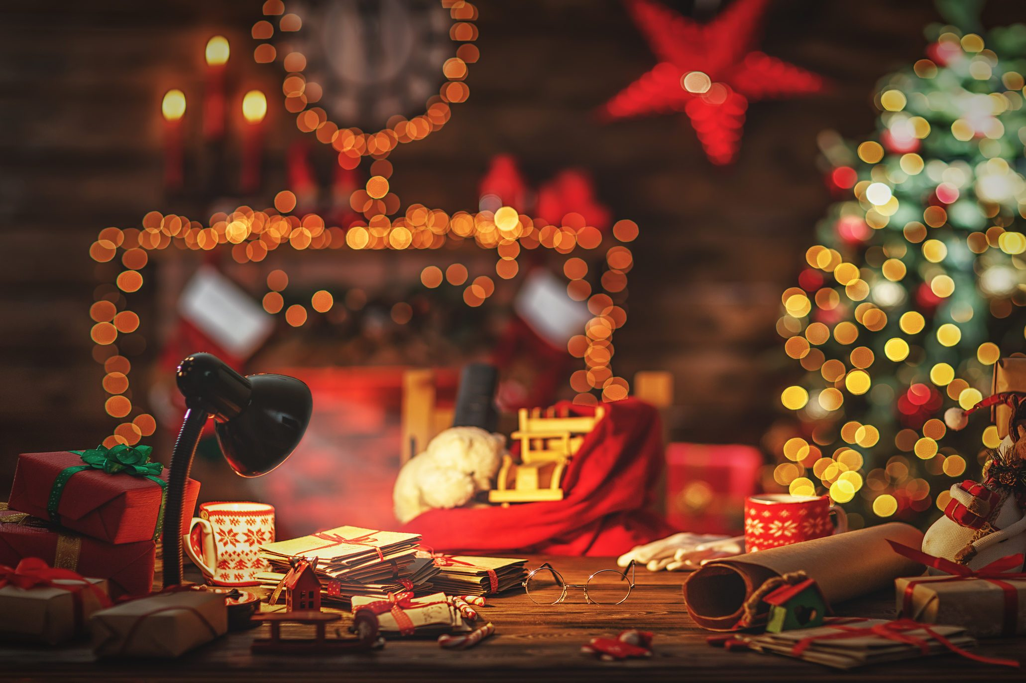 Desk of Santa Claus in Christmas