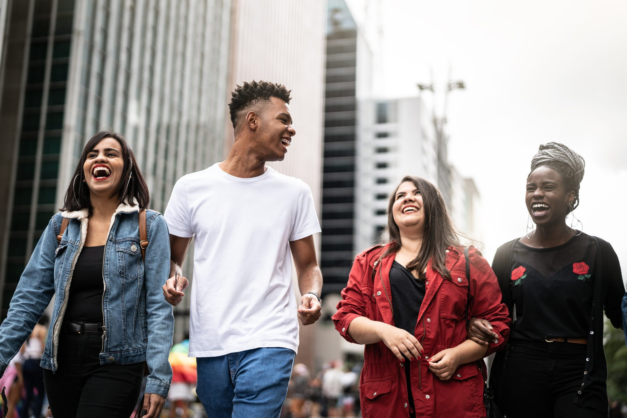Authentic Group of Diverse Friends Having Fun in the City