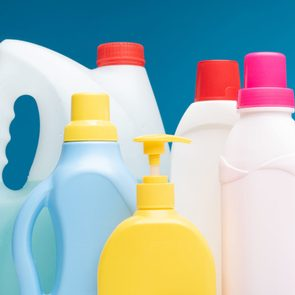 Various detergents put on white table