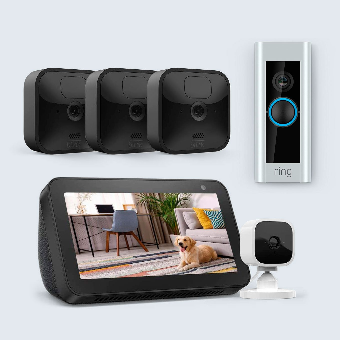 all-new blink outdoor security cameras, ring video doorbell pro, and echo show 5 with blink mini smart security camera