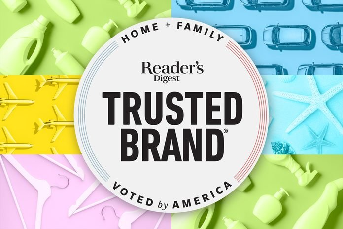 Reader's Digest Trusted Brand logo over a collage of backgrounds