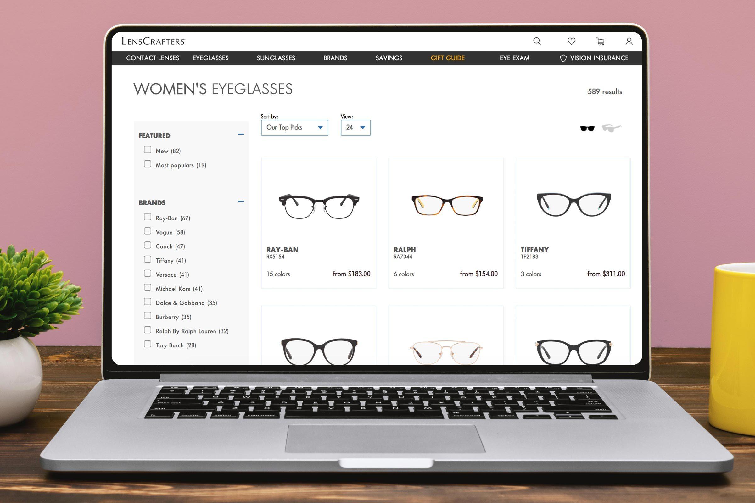 Screenshot of glasses website