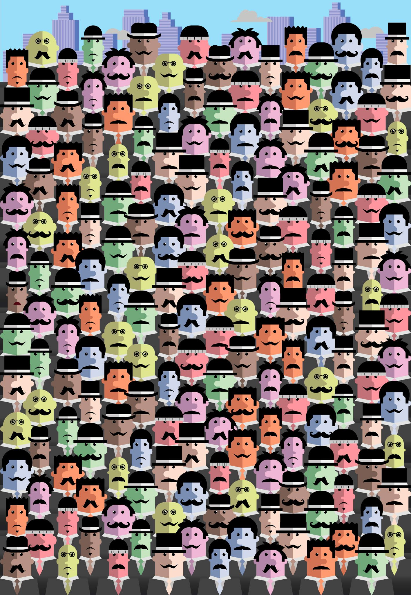 illustration; find the man without a mustache