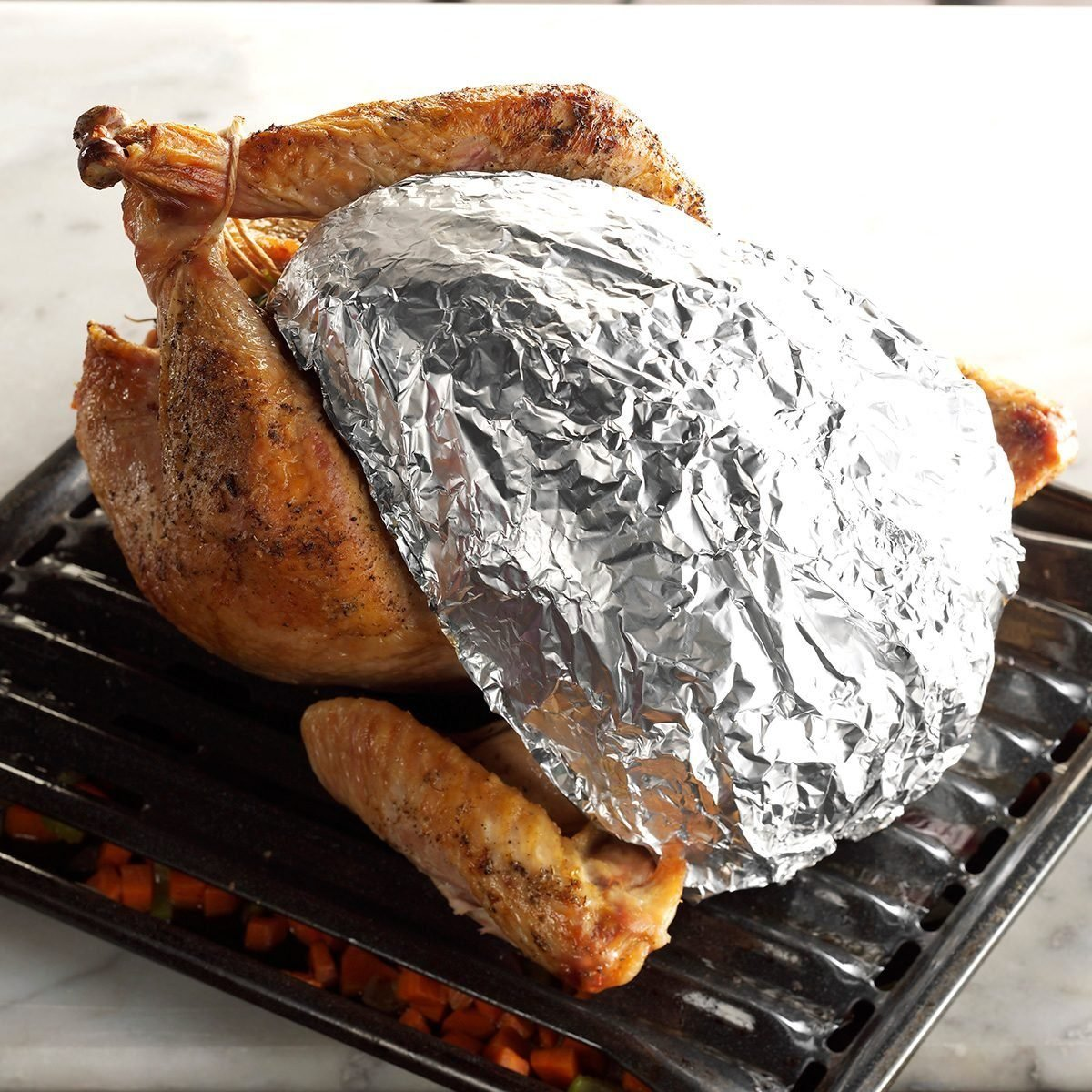 Foil cover on roasted Thanksgiving turkey