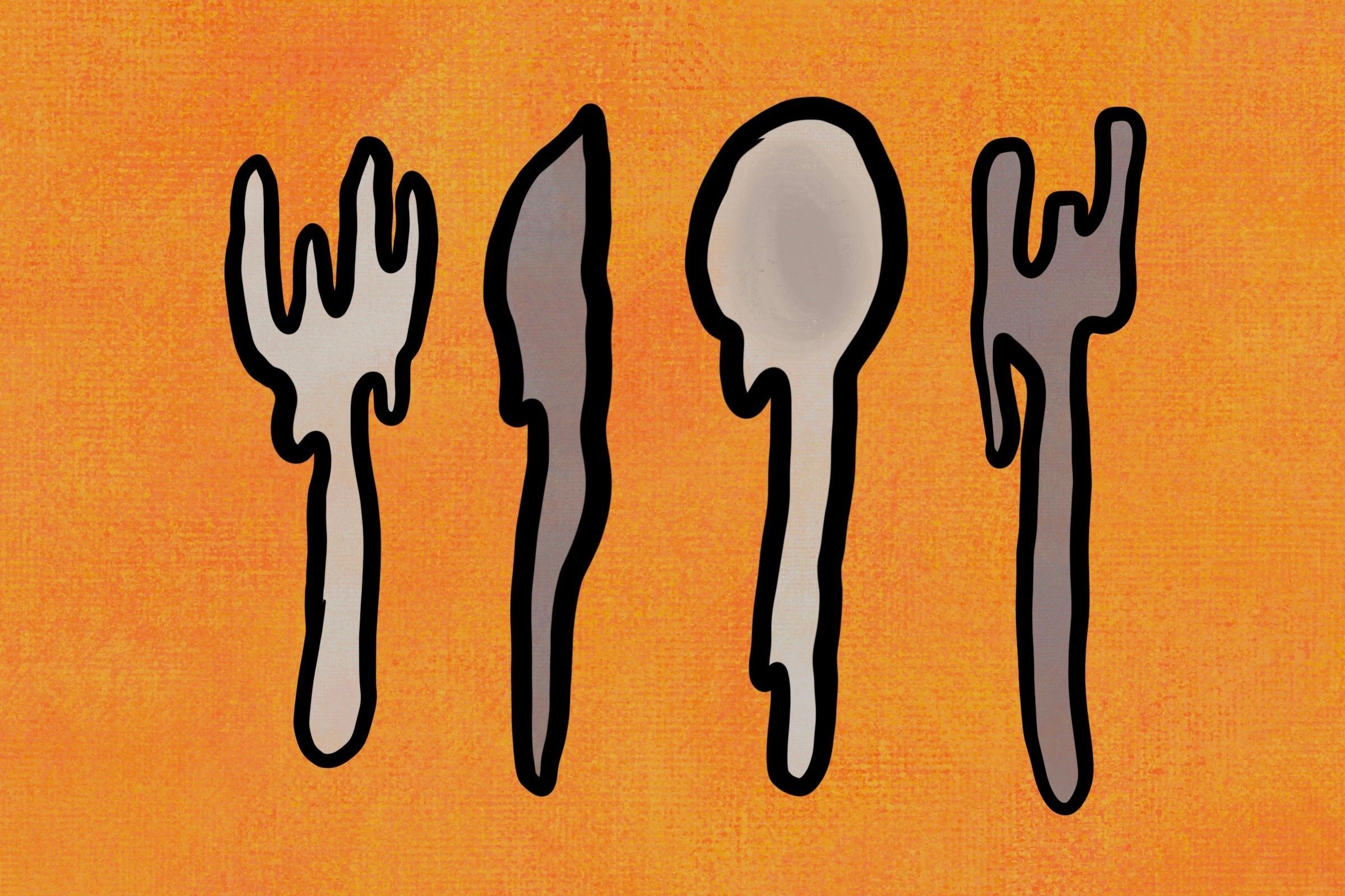 melted silverware