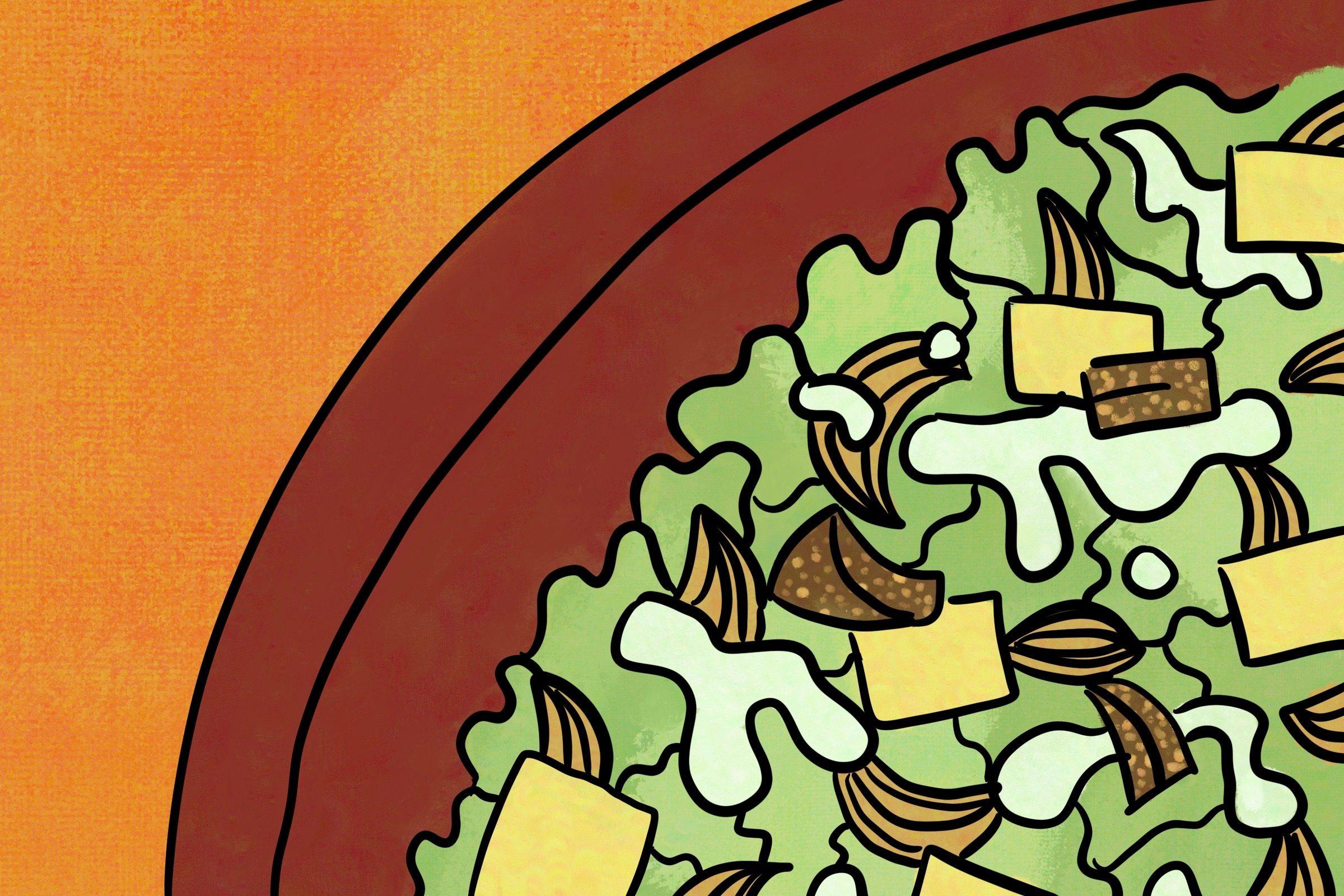 Caesar salad with extra garlic