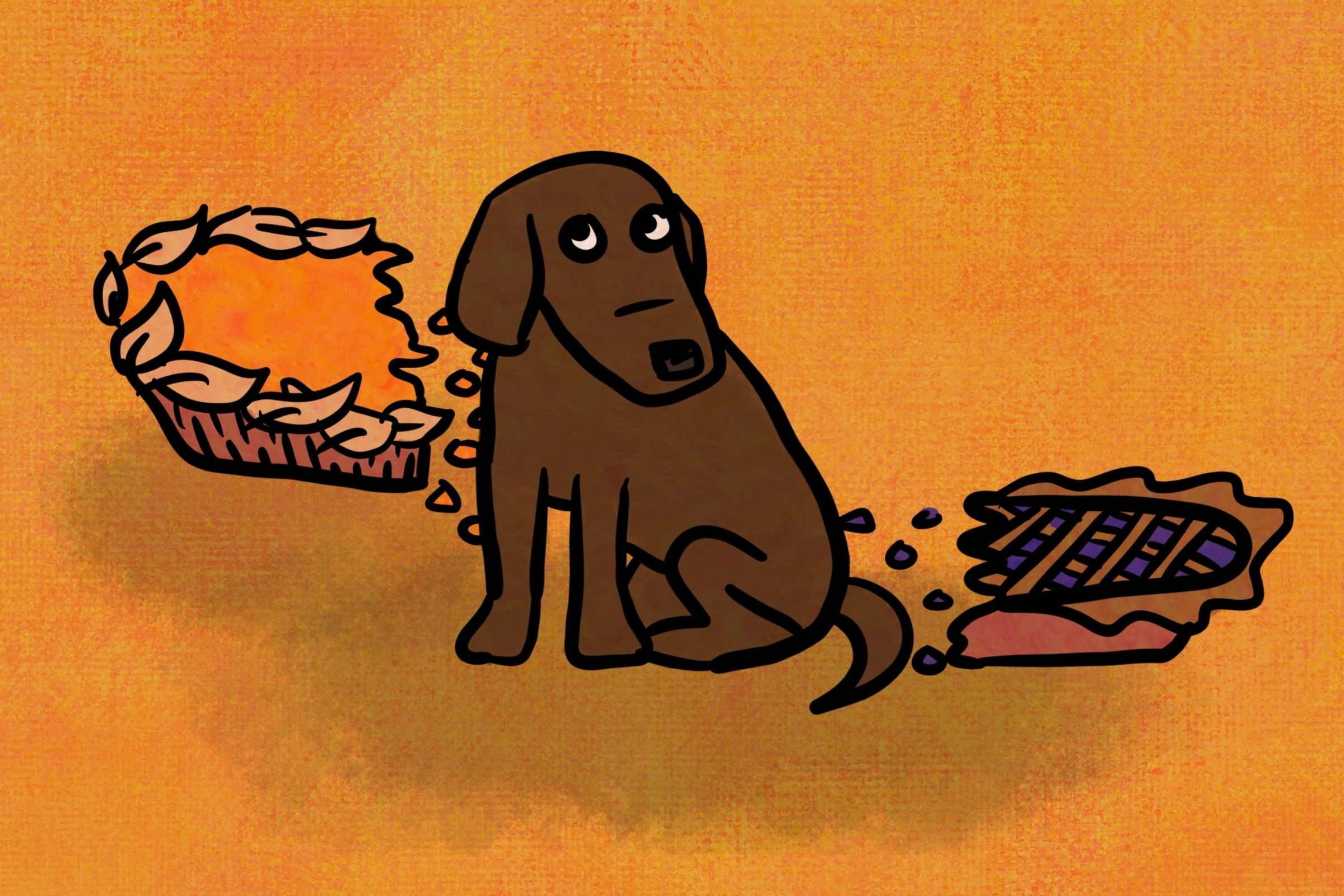 A dog and two half-eaten pies