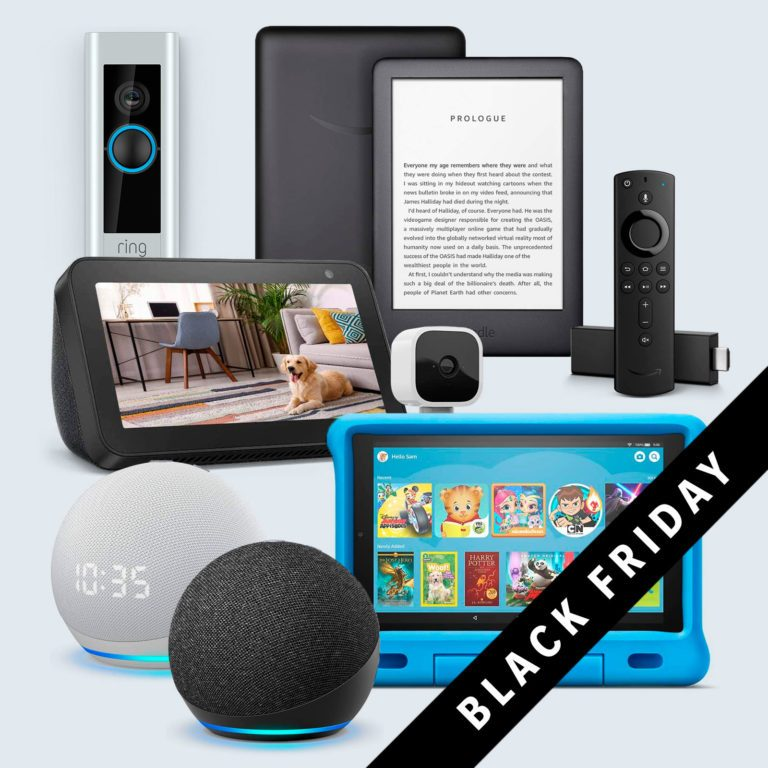 best black friday deals on amazon devices; collage of devices with Black Friday corner banner