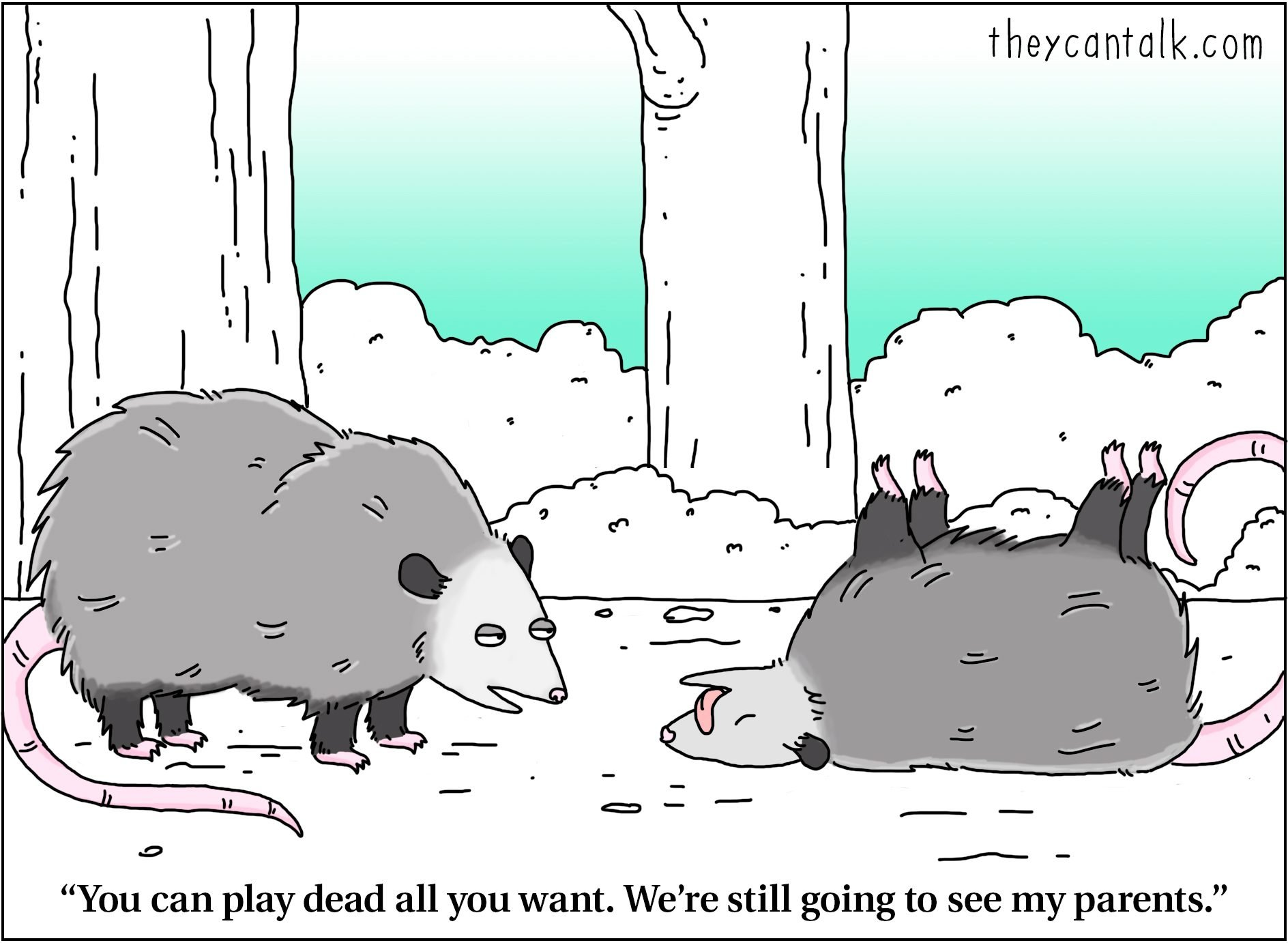 playing dead thanksgiving cartoon