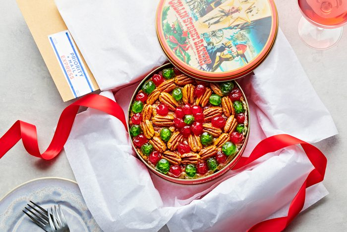 fruitcake in an open mailed package