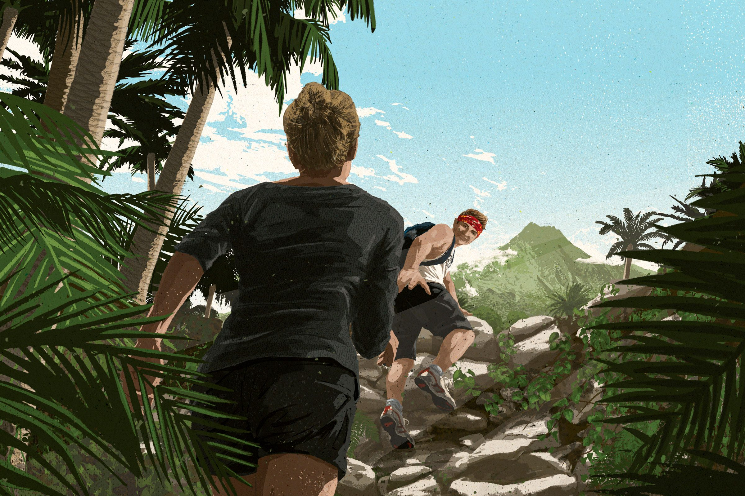 illustration of Acaimie following husband Clay up the the volcano on their hike
