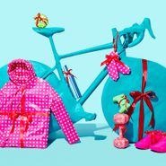 holiday gifs wrapped: bike, bagel, wine bottle, hoodie, hand weights, sneakers