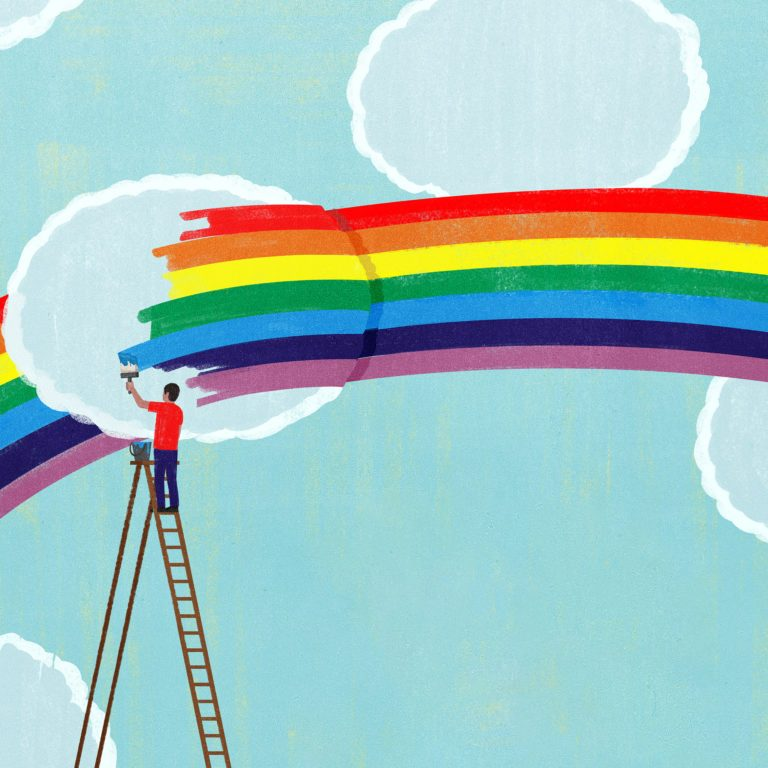 illustration of a figure painting a rainbow over the clouds