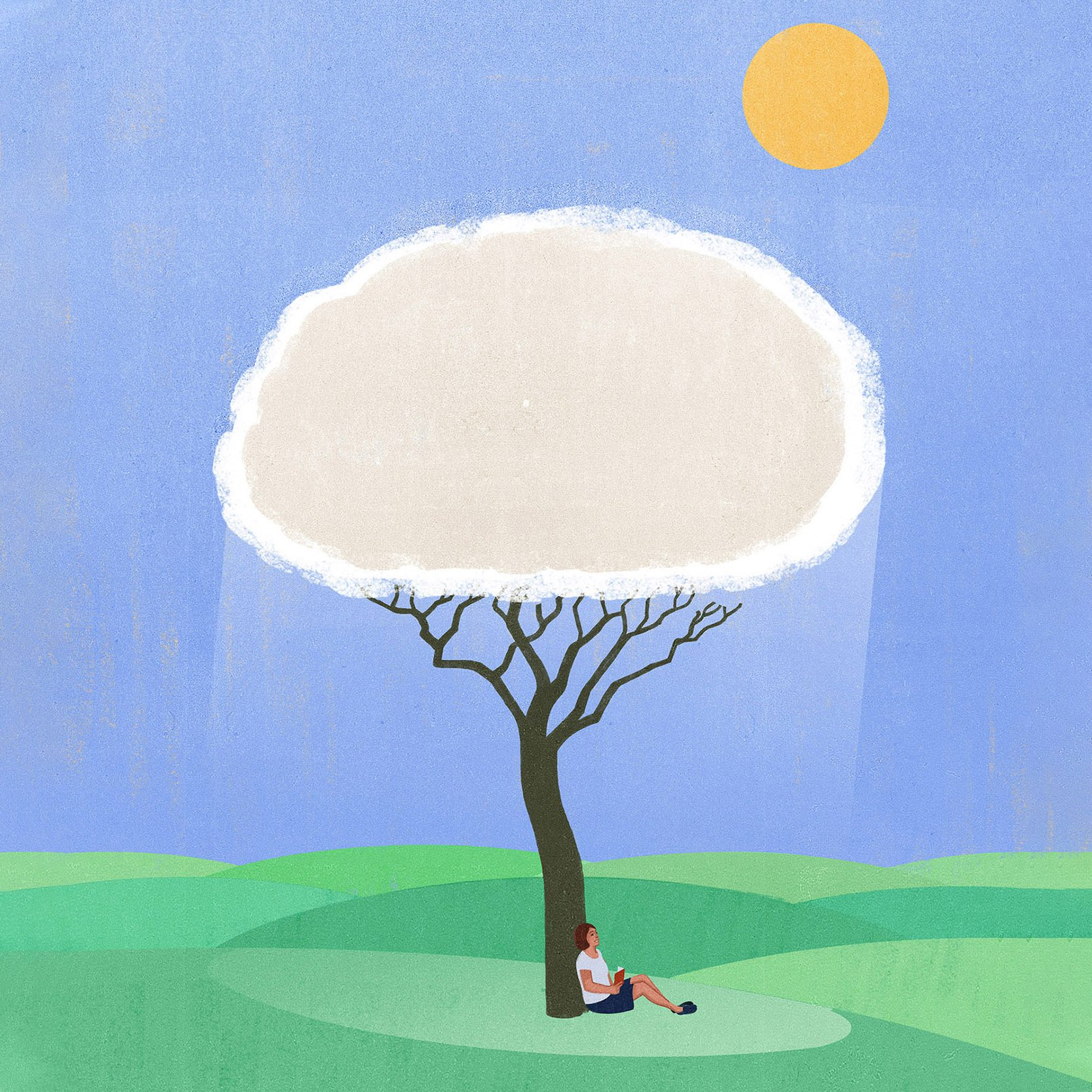 illustration of a female figure sitting beneath the shade of silver lining cloud that's also a tree