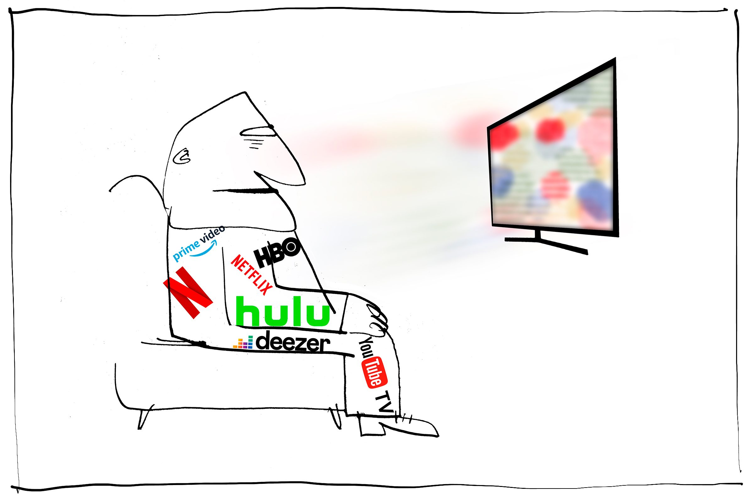 illustration of a figure wathing streaming services with logos on his clothes
