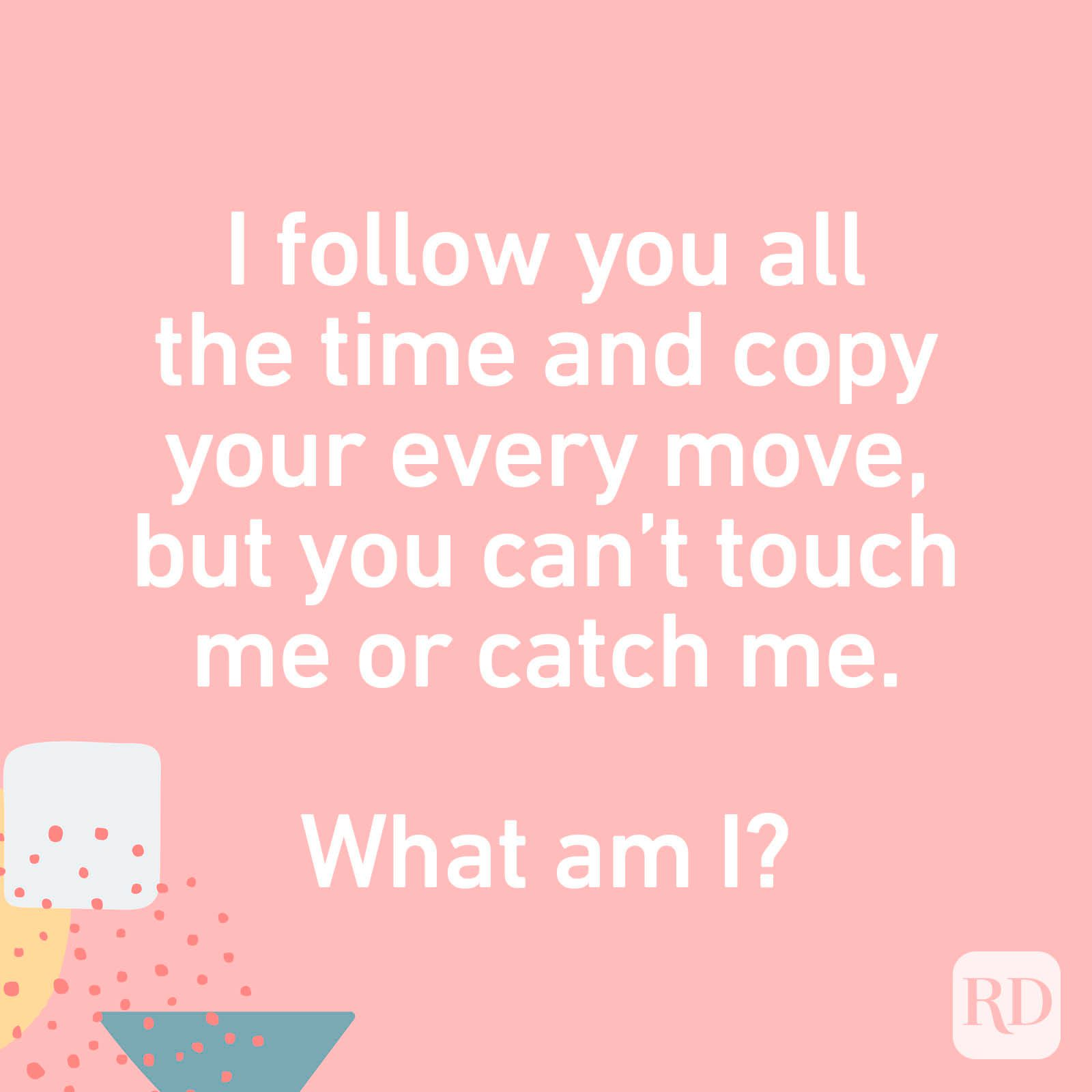 I follow you all the time and copy your every move, but you can't touch me or catch me. What am I?