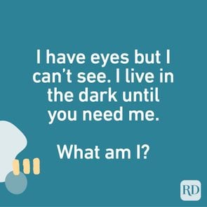 I have eyes but I can't see. I live in the dark until you need me. What am I?