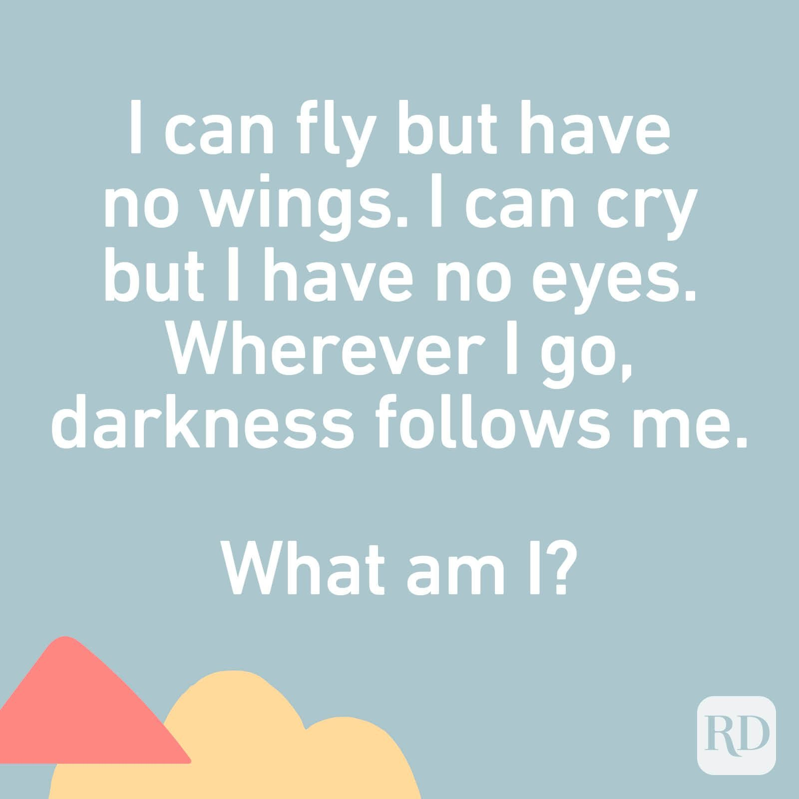 I can fly but have no wings. I can cry but I have no eyes. Wherever I go, darkness follows me. What am I?