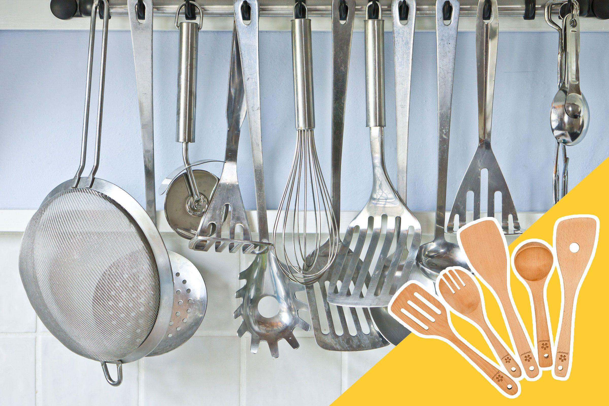 metal kitchen utensils with wooden kitchen utensils in inset