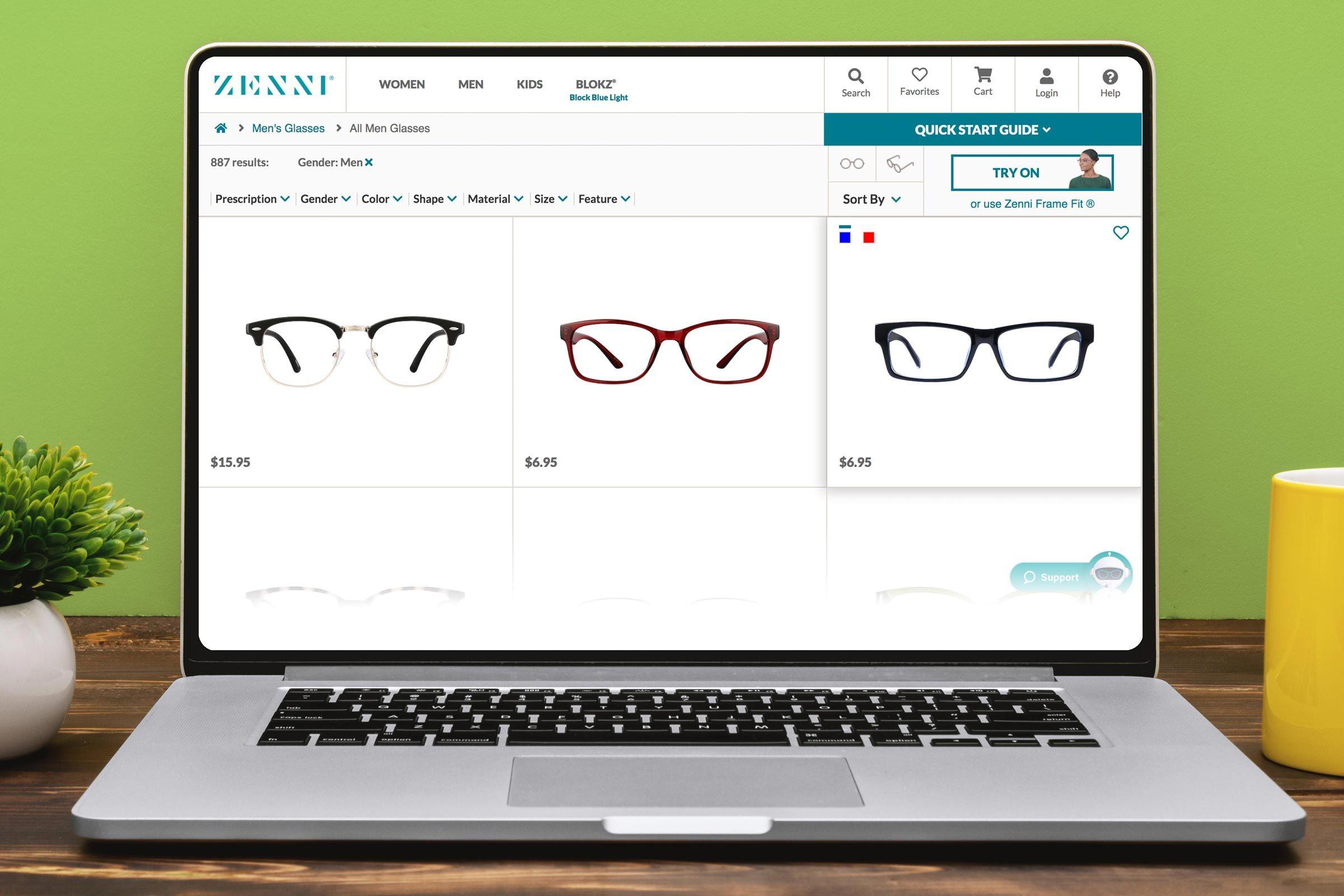 Screenshot of Zenni.com
