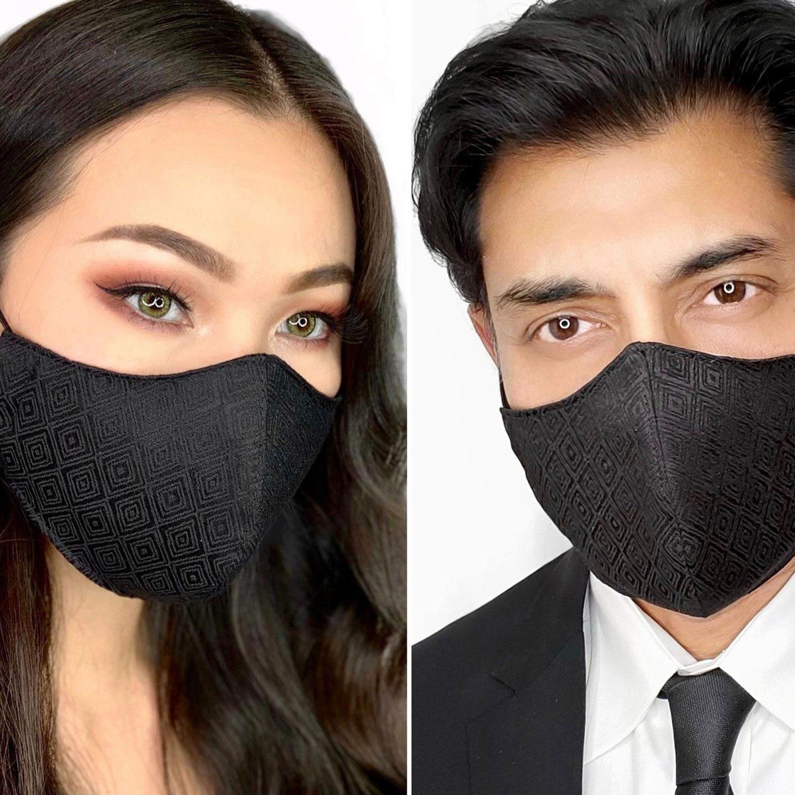AnnaGuptaDesigns Elegant Black Diamond Designer Face Mask