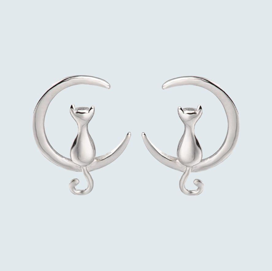 S. Leaf Sterling Silver Cat Moon Earrings