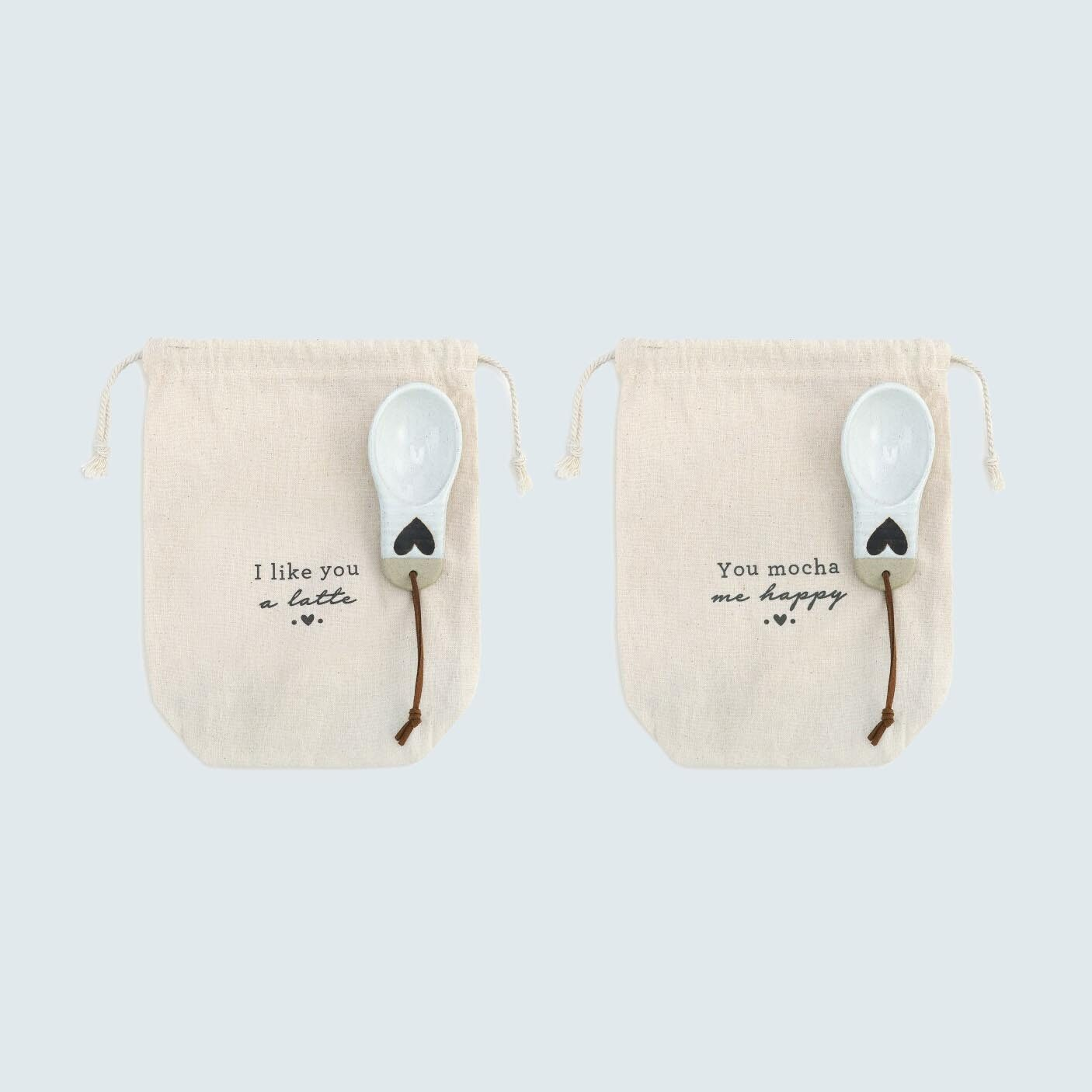 For Scooping: Heart Coffee Bag with Scoop, set of 2